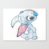 stitch Canvas Prints featuring Stitch by Art By JuJu