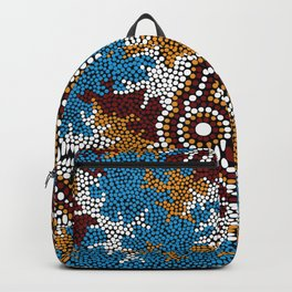 Authentic Aboriginal Art - Wetland Dreaming Backpack