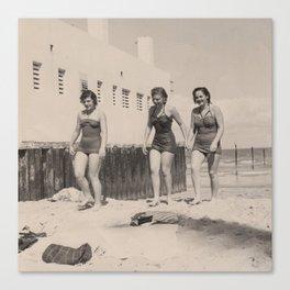 Three Girls on the Beach Canvas Print
