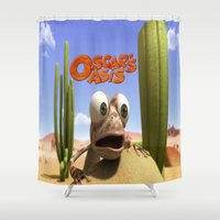 oasis Shower Curtains featuring oscar's oasis by store2u