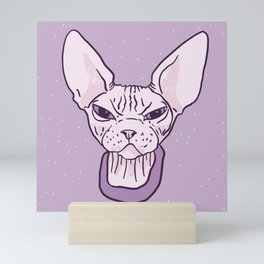Lilac Point Seal Grumply Wrinkly Sphynx Kitty - Hairless Cat Illustration - Bad Cattitude - Line Tattoo Art Mini Art Print
