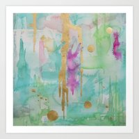 macaroon Art Prints featuring Mint Macaroon by Limezinnias Design