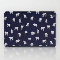 navy iPad Cases featuring Indian Baby Elephants in Navy by Estelle F