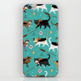 Cat wizard cats magic school pattern iPhone Skin