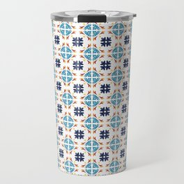 Talavera Floral Tiles Pattern Travel Mug