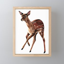Baby fallow deer fawn ink and watercolour painting Framed Mini Art Print