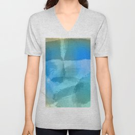 Blue Beach Abstract Watercolor Unisex V-Neck