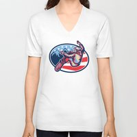 snowboard V-neck T-shirts featuring American Snowboarder Jumping Snowboard Retro by patrimonio