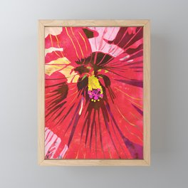 Red Hibiscus Flower Watercolor Portrait Framed Mini Art Print