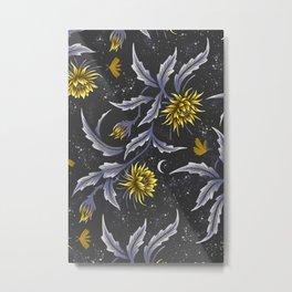 Queen of the Night - Grey Yellow Metal Print