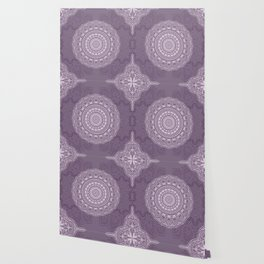 White Lace on Lavender Wallpaper