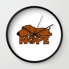 Nope Dachshund Sausage Dog Wall Clock