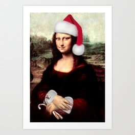 Mona Lisa Wearing a Santa Hat Art Print