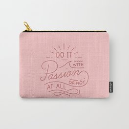 Coral Passion Typography Carry-All Pouch