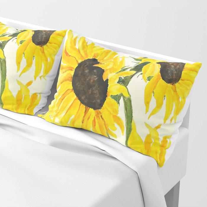 sunflower watercolor 2017 Pillow Sham