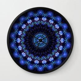 Cerulean Night Jewel Mandala Wall Clock
