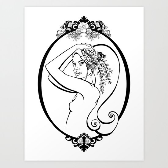 Sea Life Oval Art Print