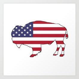 American flag - Bison Art Print