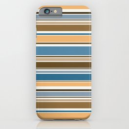 Wedgewood, Brown and Saffron Horizontal Stripes iPhone Case