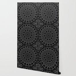 Black and White Lace Mandala Wallpaper