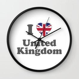 I Love UK Gift I Heart United Kindom British Gift Wall Clock