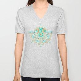 Sacred Lotus Mandala – Turquoise & Gold Palette Unisex V-Neck