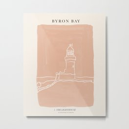 Byron Bay Lighthouse | Simple Line Art Drawing | East Coast, Australia  Metal Print