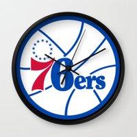 nba Wall Clocks featuring NBA - 76ers by Katieb1013