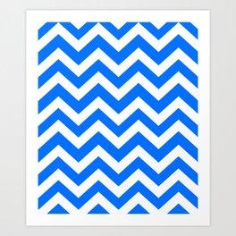 Brandeis blue - blue color - Zigzag Chevron Pattern Art Print