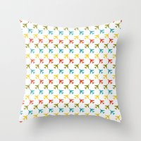 planes Throw Pillows featuring Colored planes by Yasmina Baggili