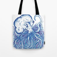 squid Tote Bags featuring Squid by Katie Alex