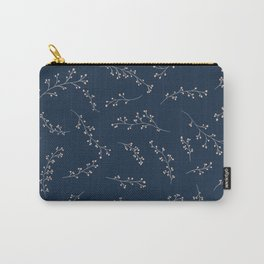 Berry Branches Pattern in Blue and Pink Carry-All Pouch
