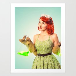 Distractingly Sexy Scientist Pinup Art Print