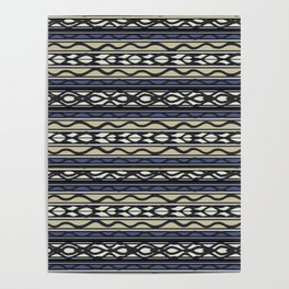 Tribal Blue Mudcloth Poster