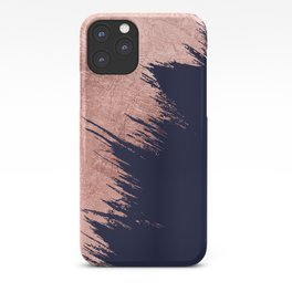 Navy blue abstract faux rose gold brushstrokes iPhone Case