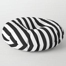 Abstract Black and White Vertical Stripe Lines 12 Floor Pillow