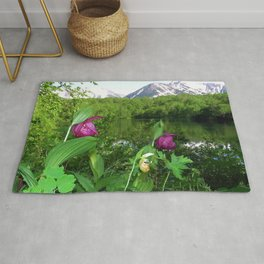 Wild Orchid Lady Slippers Snow-capped Mountain Landscape Rug