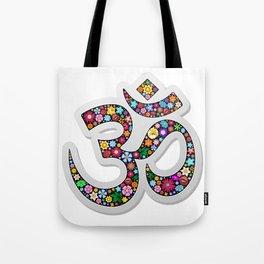 Namaste Floral Yoga Symbol Tote Bag