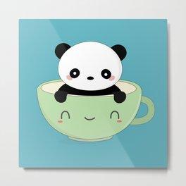 Kawaii Cute Coffee Panda Bear Metal Print