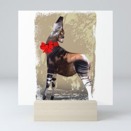 Okapi  with Red Bow Mini Art Print