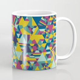 Colourful triangular mosaic in blue, yellow and burgundy Coffee Mug
