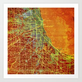 Chicago orange old map Art Print