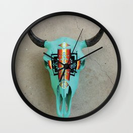 Turquoise Bison Skull Wall Clock