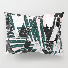 Modern geometric triangles black white abstract marble pattern palm tree leaf pink ombre Pillow Sham