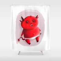 devil Shower Curtains featuring Little devil by Jacques Marcotte