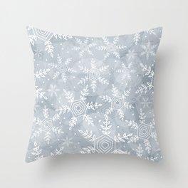 Snowflake pattern gray Throw Pillow