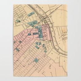 Vintage Map of New Brunswick NJ (1872) Poster
