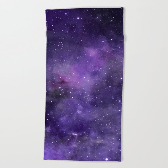 Purple Watercolor Space Pattern Beach Towel