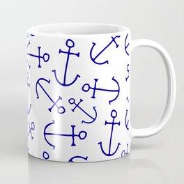 Nautical navy blue white hand painted anchors Coffee Mug