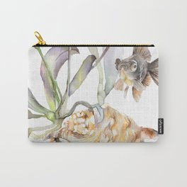 Sea shell Nature Illustration Black Goldfish Orchids Carry-All Pouch